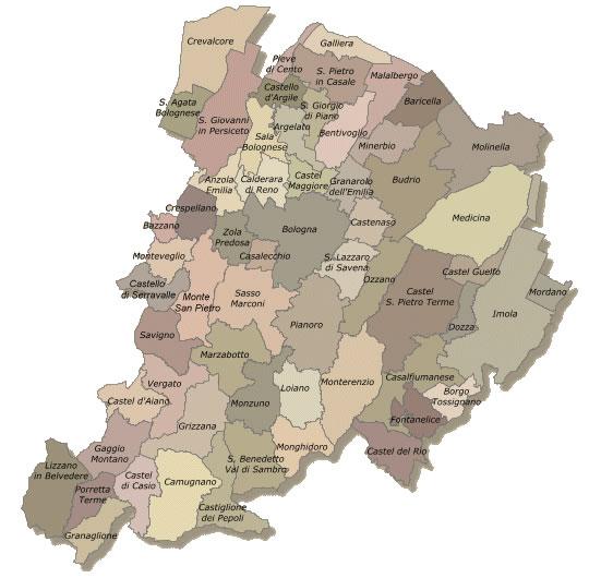 Cartina dei comuni della provincia di Bologna