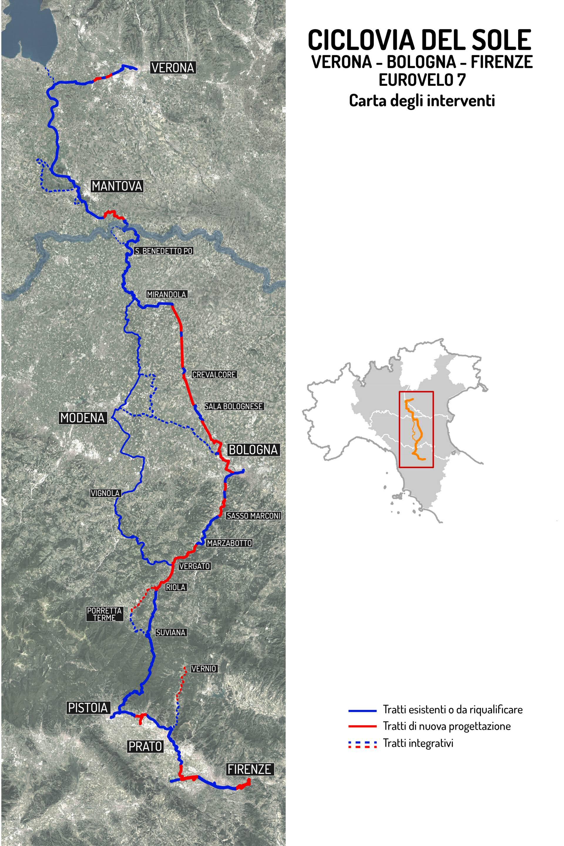 Mappa tracciato blu e rosso - carta degli interventi