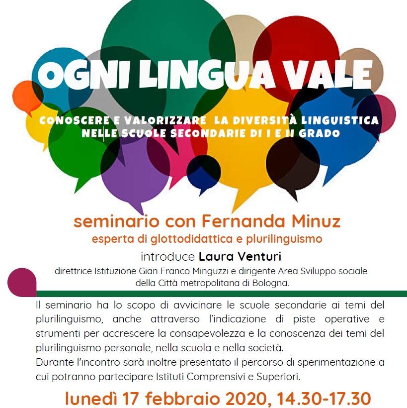 Ogni lingua vale, conoscere e valorizzare la diversità linguistica nelle scuole secondarie di I e II grado