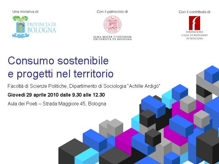 Consumo sostenibile e progetti nel territorio