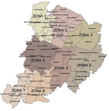 Zone di vigilanza del Corpo di Polizia provinciale
