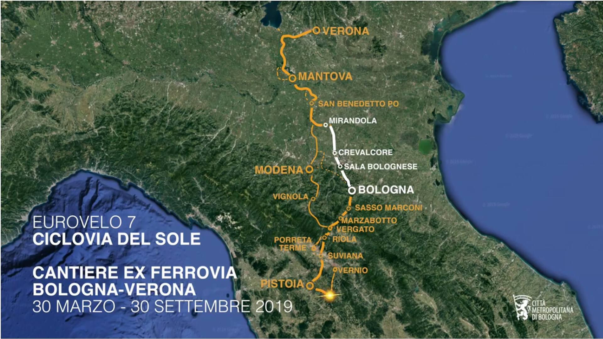 Ciclovia del Sole: a 6 mesi dall'avvio il punto sul cantiere dell'ex ferrovia Bologna-Verona