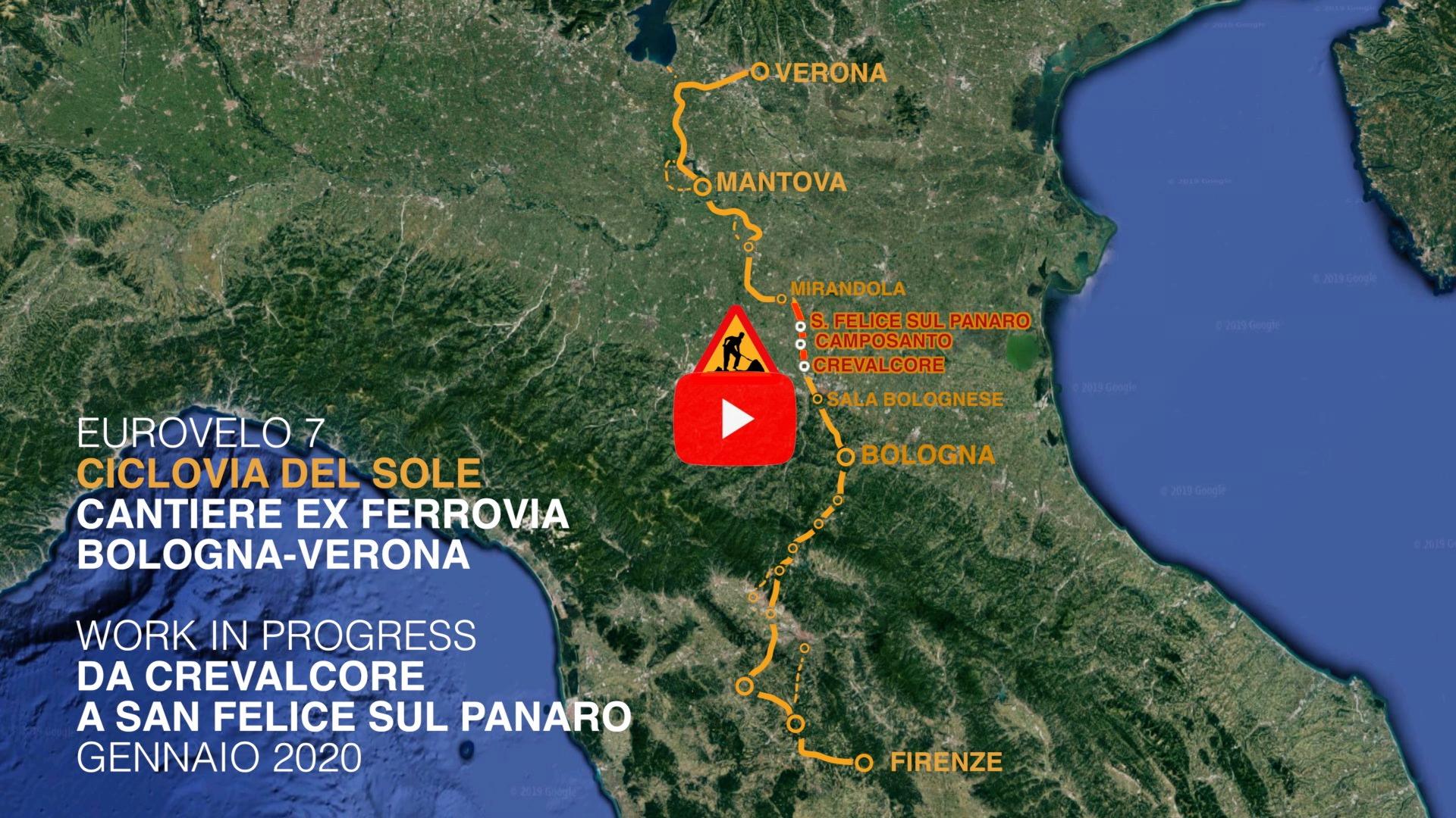 Ciclovia del Sole, cantiere sulla ex ferrovia Bologna - Verona. Gennaio 2020