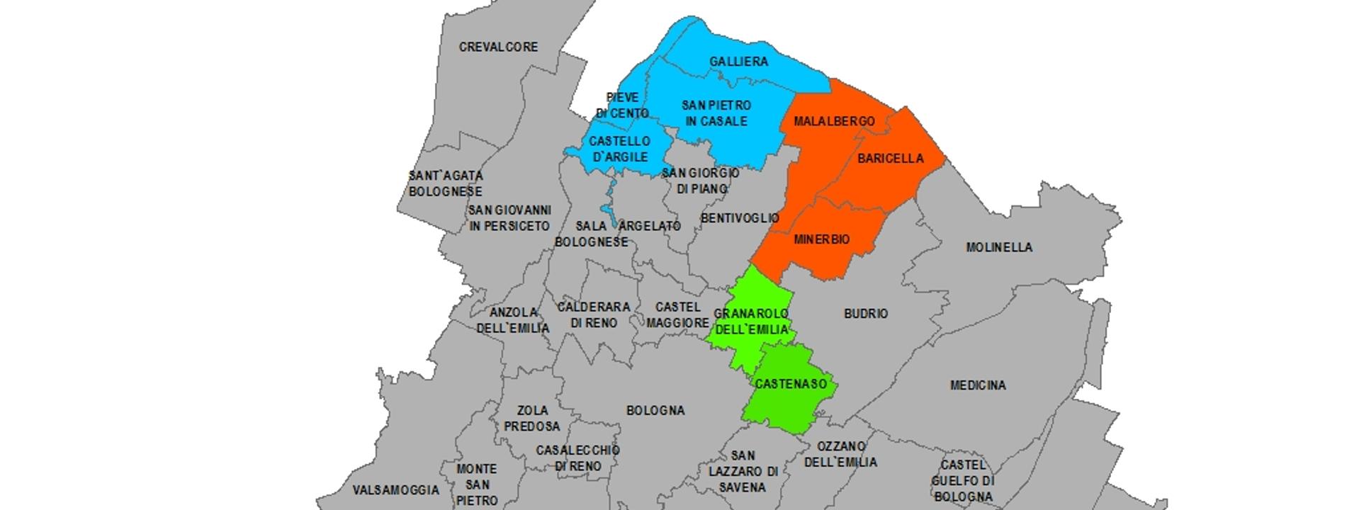 La cartina dei Comuni coinvolti