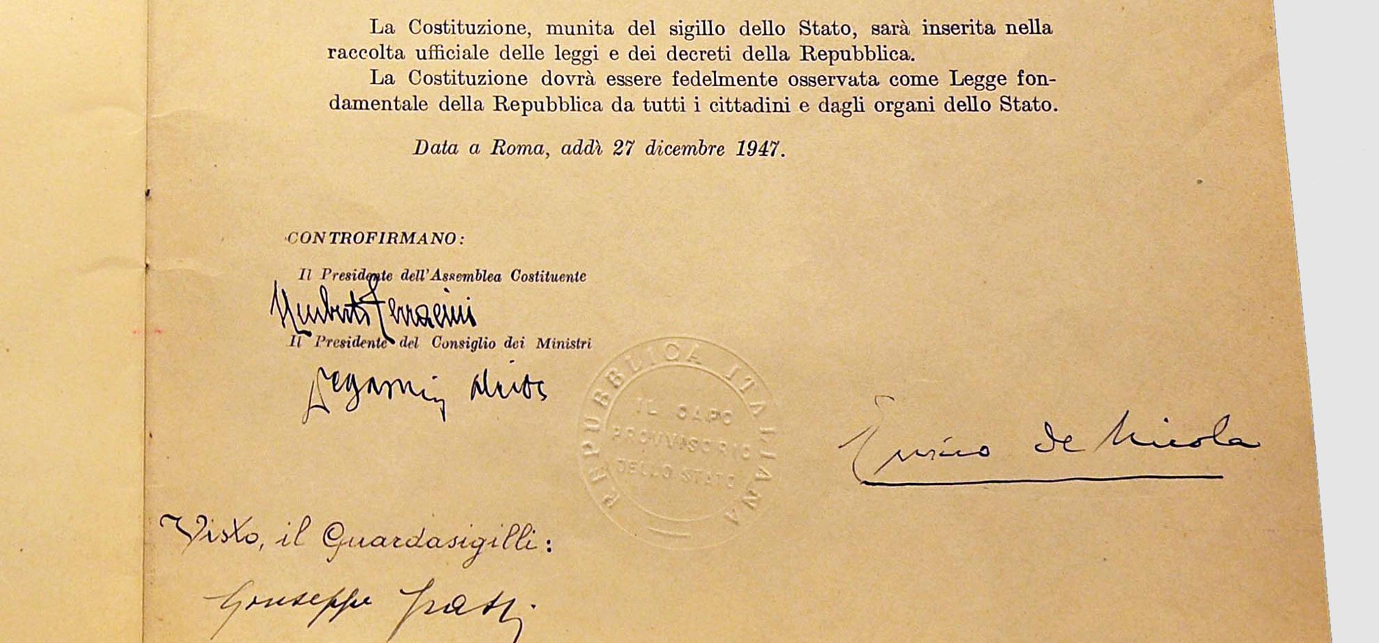 Costituzione italiana, dettaglio firme