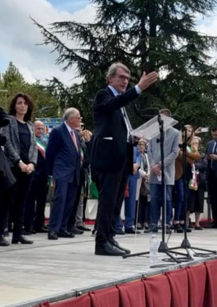 Il presidente del Parlamento Europeo David Sassoli al 75° anniversario dell'Eccidio di Monte Sole