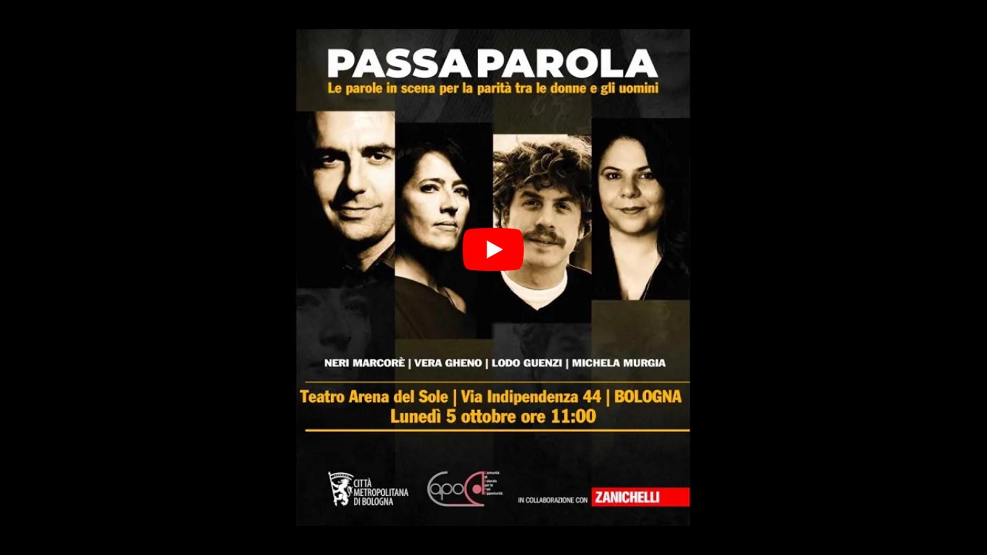 """""""Passaparola"""" le parole in scena per la parità tra donne e uomini"""