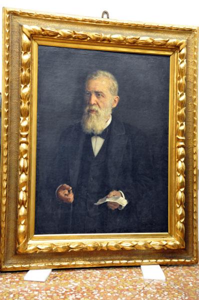 Il ritratto di Lodovico Berti eseguito da Giuseppe Tivoli (1845-1925), la tela decora sala Verde di palazzo Malvezzi