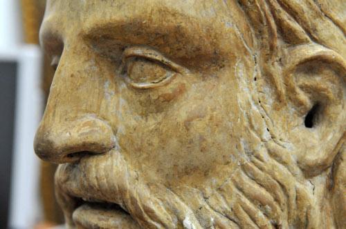 Il busto di Cristo, realizzato da uno scultore emiliano della prima metà del XVI secolo, particolare