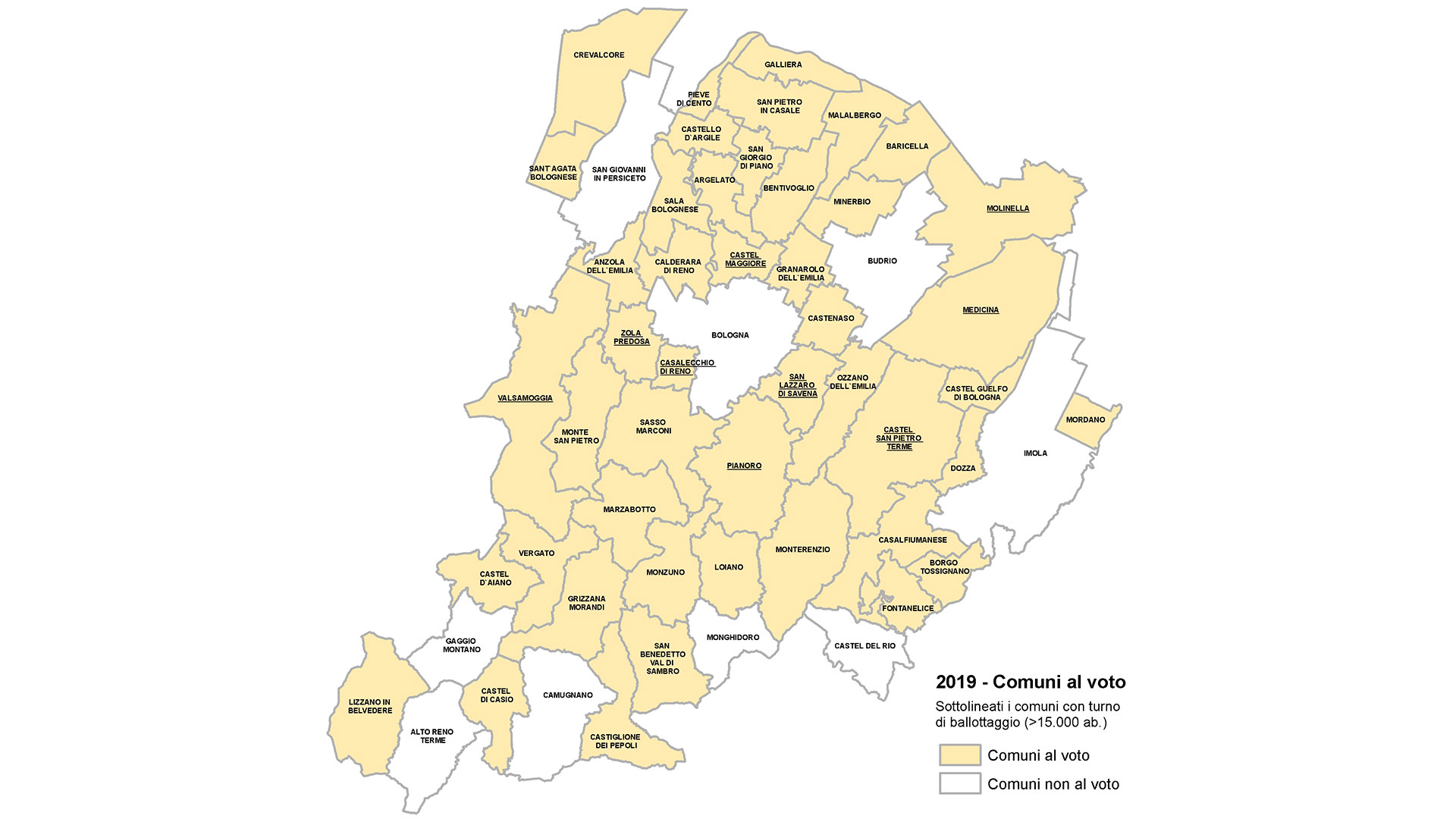 Mappa delle amministrazioni al voto