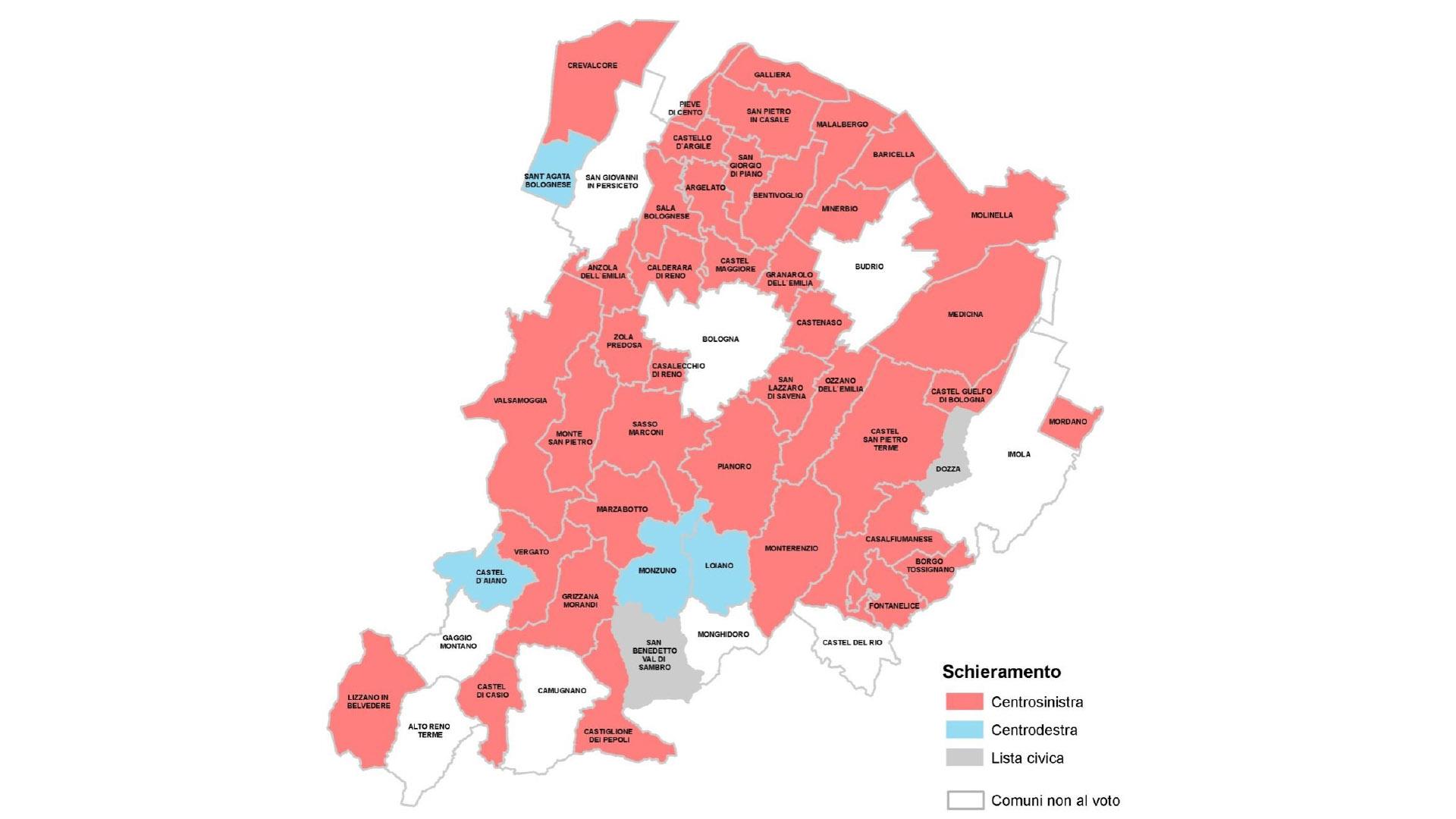 Colorazione politica delle amministrazioni comunali che andranno al voto nel 2019