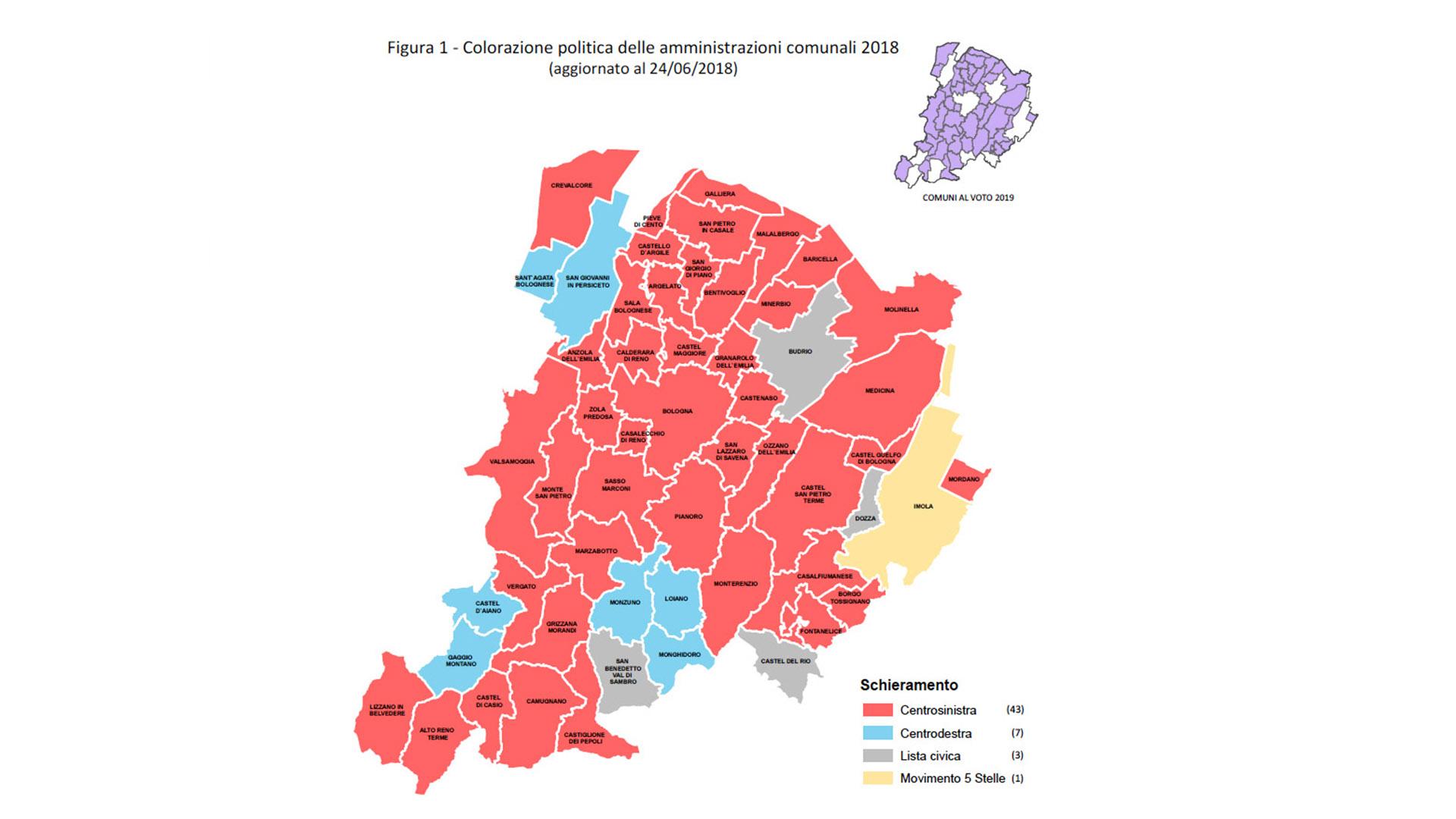 Colorazione politica delle amministrazioni comunali del 2018 (aggiornato al 24/06/2018)