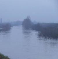 Il fiume Panaro in piena vicino a Caselle di Crevalcore