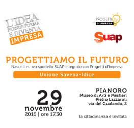 29 novembre | Inaugurazione a Pianoro del nuovo sportello integrato SUAP – Progetti d'impresa dell'Unione Savena-Idice.