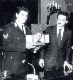 Alberto Tomba e il presidente Giuseppe Petruzzelli